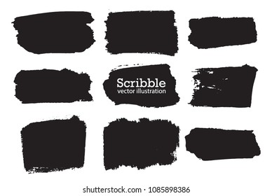 Hand drawn scribble symbols isolated on white background. Doodle style sketched Elements. Ink blots. Vector Grunge Brushes Stroke . rectangle Frame. Logo Design .