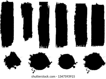 Hand drawn scribble symbols isolated on white background. Doodle style sketched Elements. Ink blots. Vector Grunge Brushes Stroke
