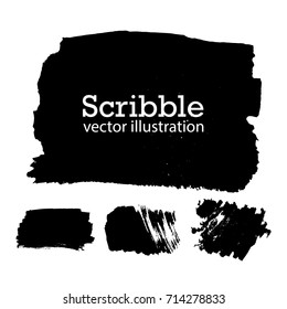 Hand drawn scribble symbols isolated on white background. Doodle style sketched Elements. Ink blots. Vector Grunge Brushes Stroke . Circle Frame. Logo Design .