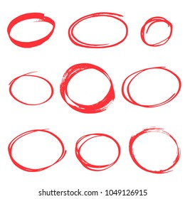 hand drawn scribbles red circles