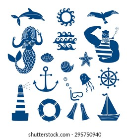 Hand drawn sea icons cartoon set with sailor, lighthouse, mermaid, ship and other. Illustrations for your design.
