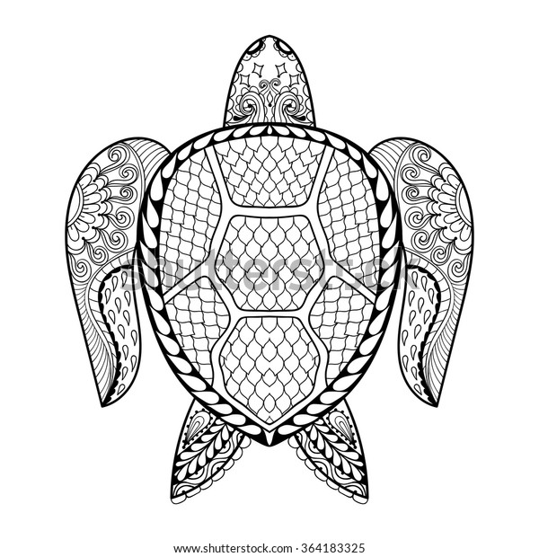 Hand Drawn Sea Turtle Mascot Adult Stock Vector Royalty Free 364183325rhshutterstock: Henna Animal Coloring Pages At Baymontmadison.com