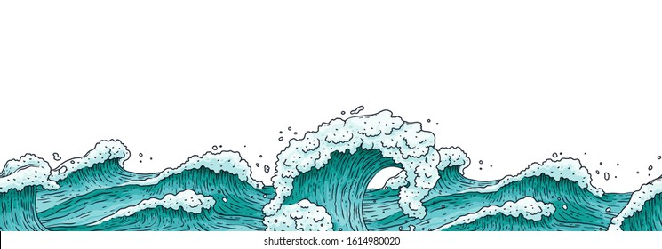 Hand drawn sea water with stormy waves - flat banner template isolated on white background. Teal blue wave of ocean flow with white foam - vector illustration.