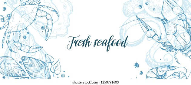 Hand drawn seafood horizontal banner template. Seafood sketches in horizontal composition.  Vector illustration for restaurant menu designs etc.