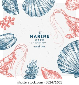 Hand drawn seafood template. Vintage sketch style menu. Vector illustration