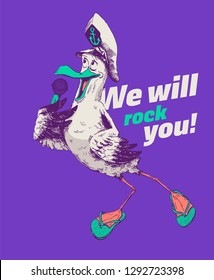 Hand drawn seagull singing in a microphone and wearing captain hat and slippers. Detailed minimal vector illustration isolated on purple background. Ideal for restaurants and book illustrations.