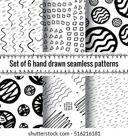 Hand Drawn Seamless Abstract Pattern With Ink Doodles. Black And White Vector Background Set. Organic Geometric Design