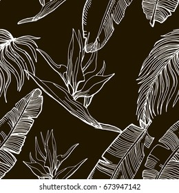 Hand Drawn Seamless Background With Banana Leaves And Tropical Flowers. Jungle Pattern  For Textile Or Book Covers, Manufacturing, Wallpapers, Print, Gift Wrap And Scrapbooking. Contour Drawing.