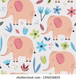 Hand drawn seamless background with elephans and flowers. Pattern with cute design. Scandinavian style design. Vector illustration