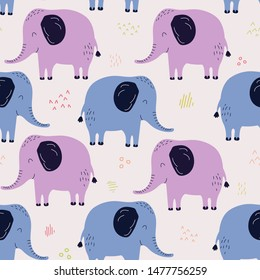 Hand drawn seamless background with elephans. Pattern with cute design. Scandinavian style design. Vector illustration