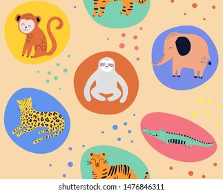 Hand drawn seamless background with monkeys, sloths, elephans, leopards, crocodiles and tigers. Pattern with cute design. Scandinavian style design. Vector illustration