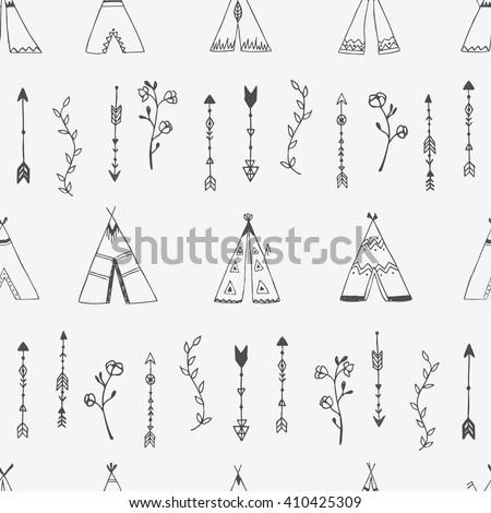 Hand Drawn Seamless Background Wigwams Ornamental Stock Vector
