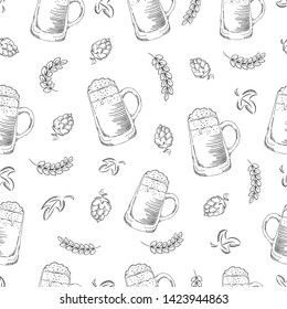 Hand drawn seamless beer pattern. Doodle style seamless pattern with beer, hop and wheat on white background