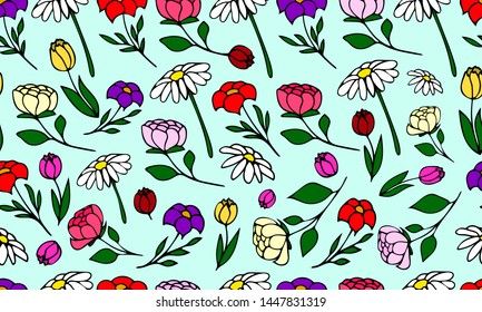 Hand drawn seamless floral pattern, doodle