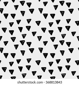 Hand drawn seamless ink pattern with triangles. Sketch design for print, home decor, textile, wrapping paper, invitation card background, fashion fabric