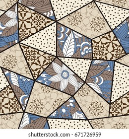 Hand drawn seamless patchwork pattern. Vintage boho style with decorative elements. Islam, Arabic, Indian, ottoman motifs. Perfect for printing on fabric or paper.
