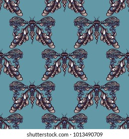 Hand drawn seamless pattern with abstract butterfly symbol. Vector line art. Mystical esoteric symbol of freedom, travel, elegance.