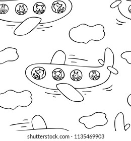 Hand drawn seamless pattern of airplane and cute animals.