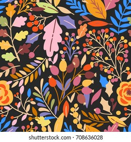 Hand drawn seamless pattern with autumn leaves, flowers, berries. Forest cute fall pattern