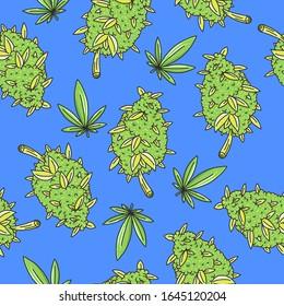 Hand Drawn seamless pattern Background Cannabis Flowers