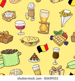 Hand drawn seamless pattern: belgian traditional food and beer. Vector illustration.