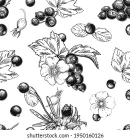 Hand drawn seamless pattern black and white of blossom dogrose flower, currant, plant, leaf. Vector illustration. Elements in graphic style label, sticker, menu, package.