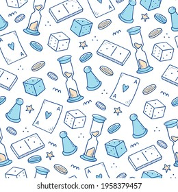 Hand drawn seamless pattern of board game element, cards, chess, hourglass, chips, dice, dominoes. Doodle sketch style. Isolated vector illustration for for board game shop, store.