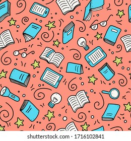 Hand drawn seamless pattern of book doodle elements, education symbols. Vector illustration for book store, reading club, learning, library wallpaper, texture concept design. Doodle sketch style.