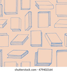 Hand drawn seamless pattern with books