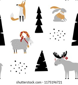 Hand drawn seamless pattern with bunny, fox, goat, elk and trees. Childish texture. Good for fabric, textile. Christmas vector wallpaper.