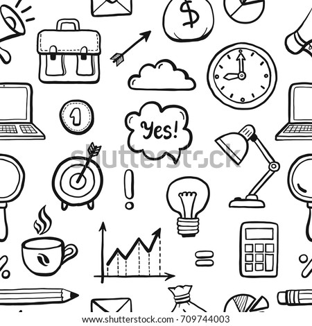 Hand Drawn Seamless Pattern Business Finance Stock Vector Royalty