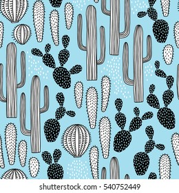 hand drawn seamless pattern with cactus