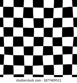 Hand drawn seamless pattern with chessboard. Black and white checkerboard. Print design for textile, fabric, wrapping paper. Chess background. Trendy vector illustration
