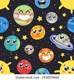Hand Drawn Seamless Pattern with Childish Illustration Cosmos. Vector Drawing Planet, Star and Satellite in Space. Cartoon Solar System object