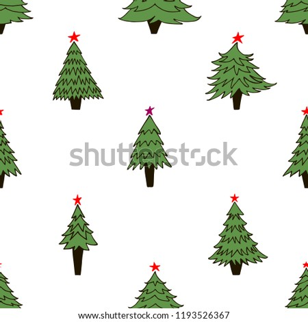 Hand Drawn Seamless Pattern Christmas Trees Stock Vector Royalty
