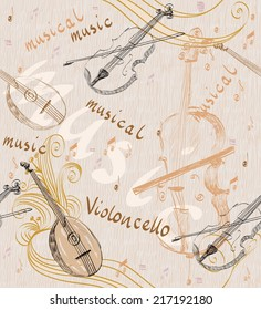 hand drawn seamless pattern of classical musical instruments