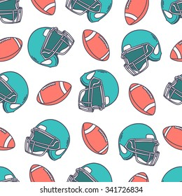 Hand drawn seamless pattern with collection of sports equipment. Design background vector. Colorful illustration with rugby icons. Decorative wallpaper, good for printing