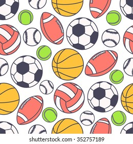 Hand drawn seamless pattern with collection of sports equipment. Design background vector. Colorful illustration with balls icons. Decorative wallpaper, good for printing