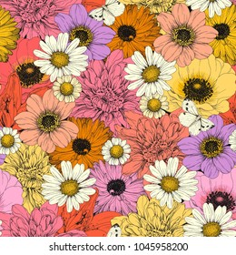 Hand drawn seamless pattern with colorful buds flowers Chamomile, Dahlia, Lily and Anemone. Vector bright illustration with flying butterflies.