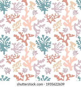 Hand drawn seamless pattern with corals. Beautiful colors in eps 10.