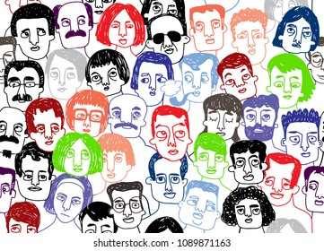 Hand drawn seamless pattern of a crowd of many different people from diverse cultural backgrounds