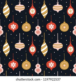 Hand drawn seamless pattern with cute christmas tree decorations. Repetitive New Year baubles print. Vector design template .