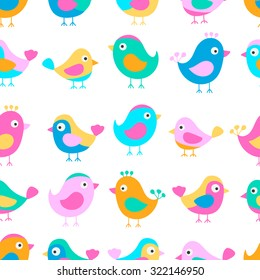 Hand drawn seamless pattern with cute birds. Fun birds for kids design. Vector. Bright colors - pink, blue, yellow, orange. On white background.