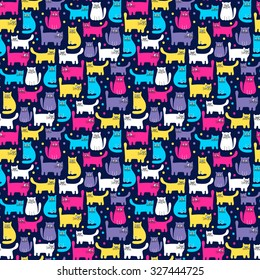 Hand drawn seamless pattern with cute colorful cats and dots. Bright colors. Vector background for kids.