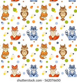 Hand drawn seamless pattern cute animals. vector animals in cartoon style  including fox, owl,  raccoon, cat. pattern with colored circles