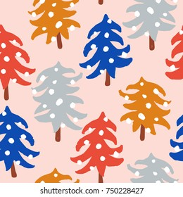 Hand drawn seamless pattern with cute Christmas trees for your design. Custom vector illustration. Can be used for banners, cards, prints, posters, stamps, scrapbooks, wrapping paper, etc.