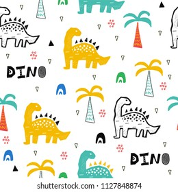 Hand drawn seamless pattern with dinosaur in the wild safari firest. Cute illustration for nursery,textile, kids fashion. Vector design