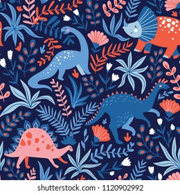 Hand drawn seamless pattern with dinosaurs and tropical leaves and flowers. Perfect for kids fabric, textile, nursery wallpaper. Cute dino design. Vector illustration.