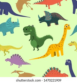 Hand drawn seamless pattern with dinosaurs. Perfect for kids fabric, textile, nursery wallpaper. Vector illustration.