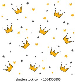 Hand drawn seamless pattern with doodle crowns. Cute baby and little princess design. Children's room wallpaper and clothes texture.